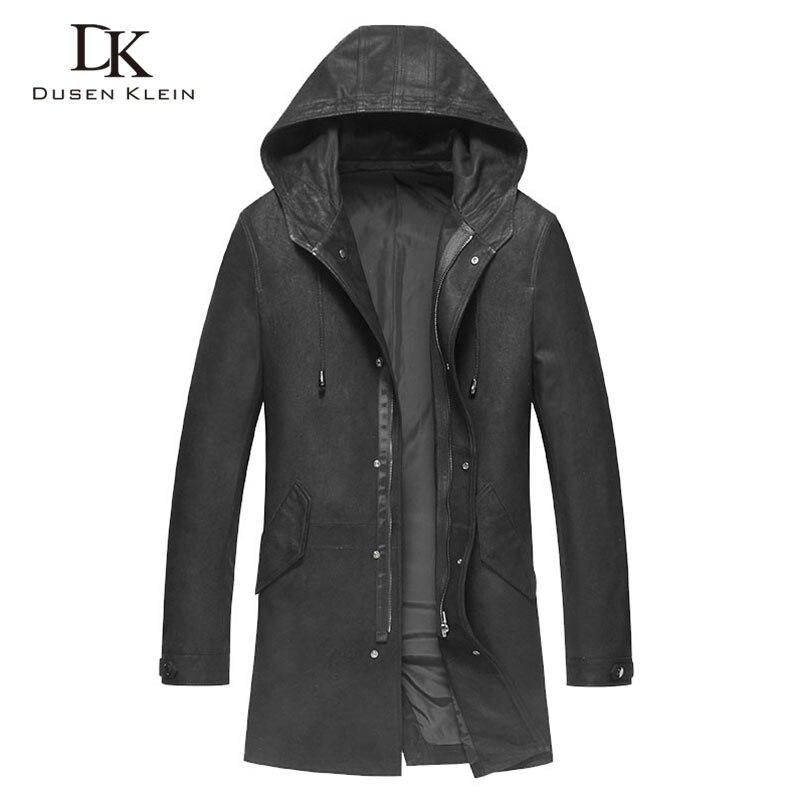 Дизайнерский плащ мужские длинные Тренч с капюшоном куртки Дюсенов Klein из натуральной кожи sheeepskin мужской кожаной одежды черный 71S9003