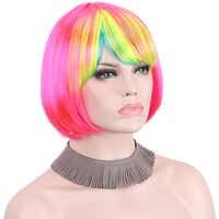 Peruka krótka Cosplay peruki dla kobiet z kolorowe grzywki środkowa część na ramię długość Anxin peruki syntetyczne