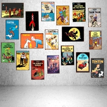 Tintin Cartoon Movie Tin Sign Vintage Placas Decorativas Pub Cafe Home Art Kids Room Wall  Decor Unique Gift Cuadros A-1018