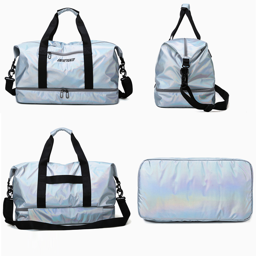 Pink Glossy Fitness Gym Bags Dry Wet Tas Handbags For Women With Shoes Compartment Travel Training sac De Sport Yoga Mat Bag