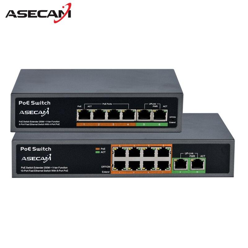 Высокое качество 48 В PoE коммутатор Профессиональный для IP Камера 2 + 4 Порты и разъёмы 8 Порты и разъёмы 10/100 Мбит/с инжектор PoE Мощность Over Ethernet ...
