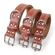 Pets Acessorios PU Leather Puppy Dogs Collar Cool Adjustable Pet Neck Strap Collars For 2.5/3.0/3.5cm Width