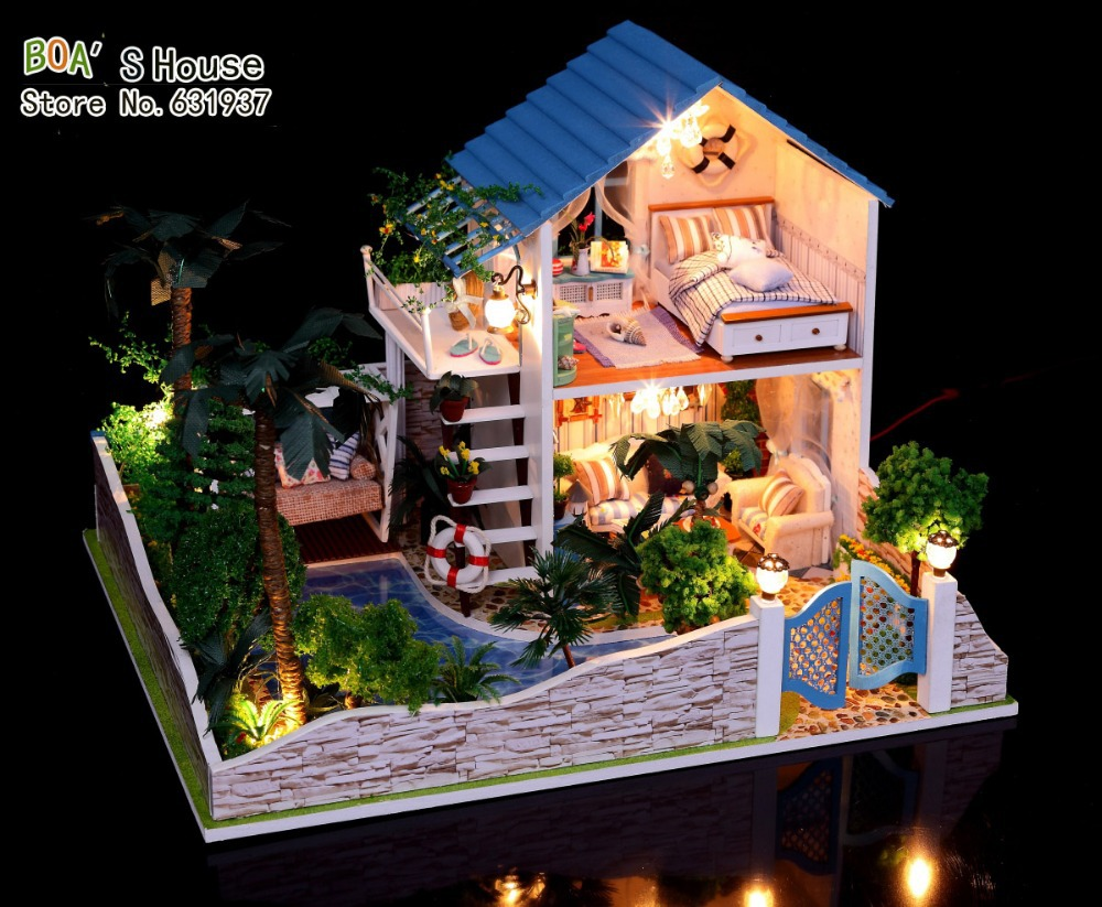 New Arrive Diy Doll House Model Building Kits 3D Handmade Wooden Miniature Dollhouse Toy Christmas Birthday Greative Gift виниловые обои marburg nena 57236