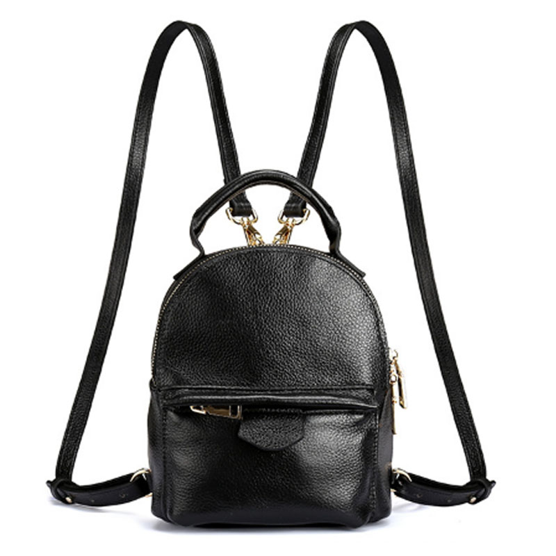 New Women Top Quality Genuine Leather Daypack Bag Korean Trend Female Mini Travel small Backpack School Bags Leather Bag women forest deer animal print studded black leather school backpack travel daypack bag