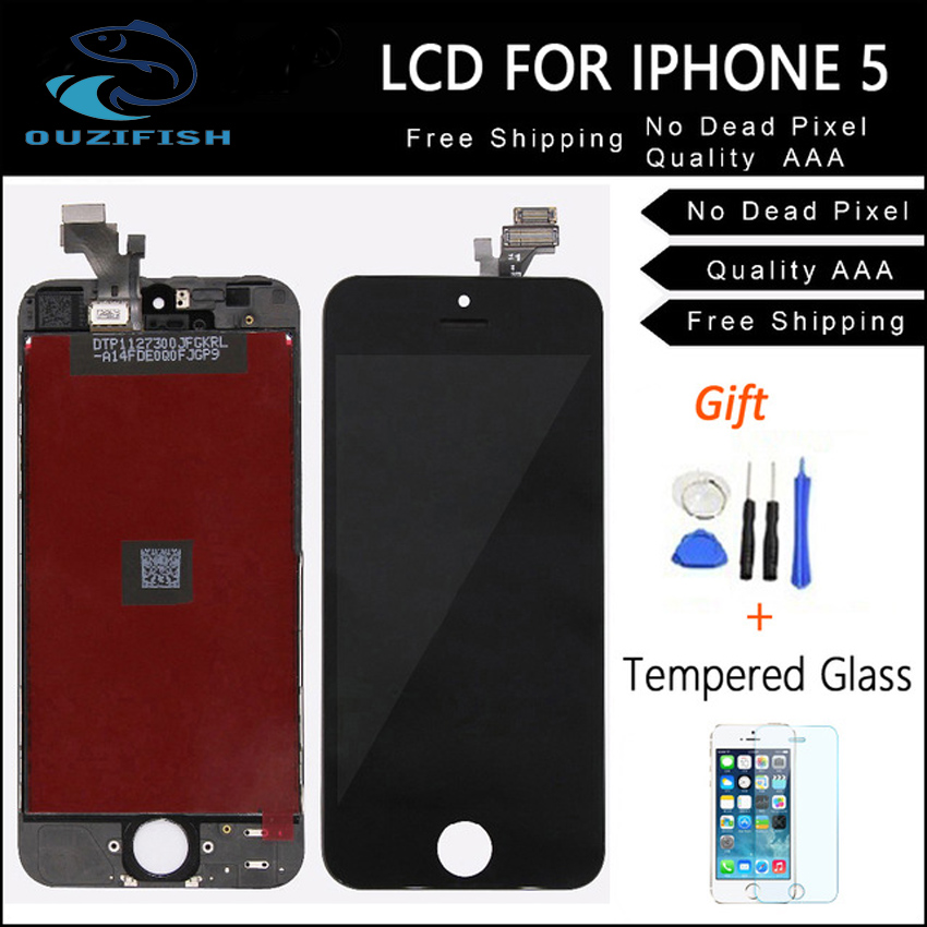 OUZIFISH For iphone 4 4S Replacement full screen for iPhone 5 5G 5S 5C lcd display with touch digitizer assembly + film + tools
