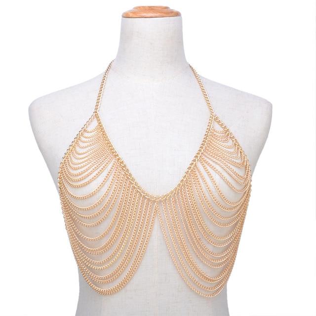 221fc7a85ecfb Sexy Body chain Bra Bikini Body Chain women Statement Metal bra chain  bralette Beach Harness summer jewelry