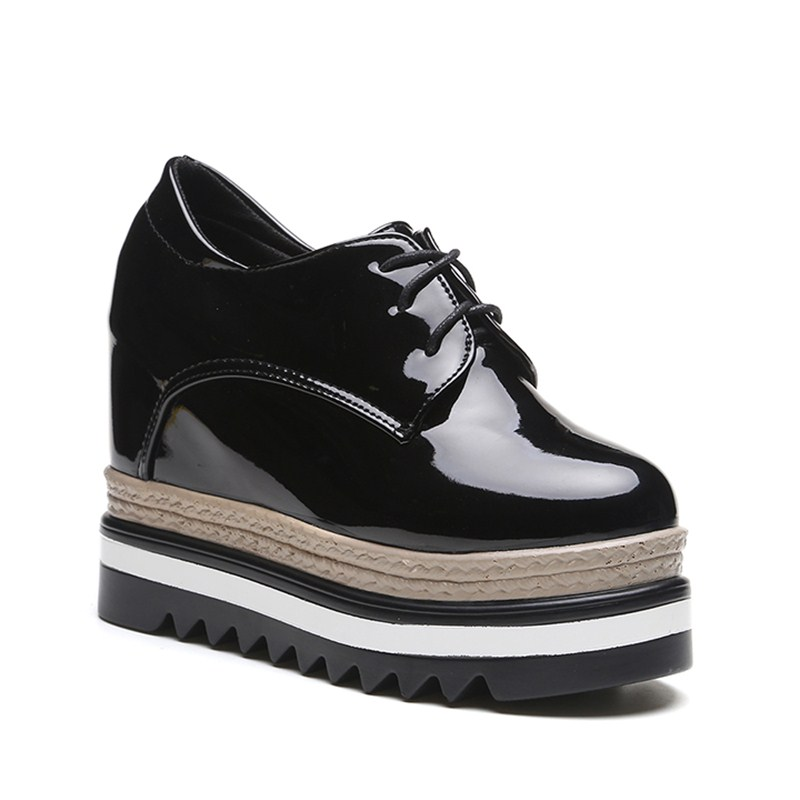 b4d55711dba 2019 Women Pumps Platform Black Lace Up Shoes Women Casual Shoes Wedges  Hidden Heel Patent Leather High Heels-in Women s Pumps from Shoes on  Aliexpress.com ...