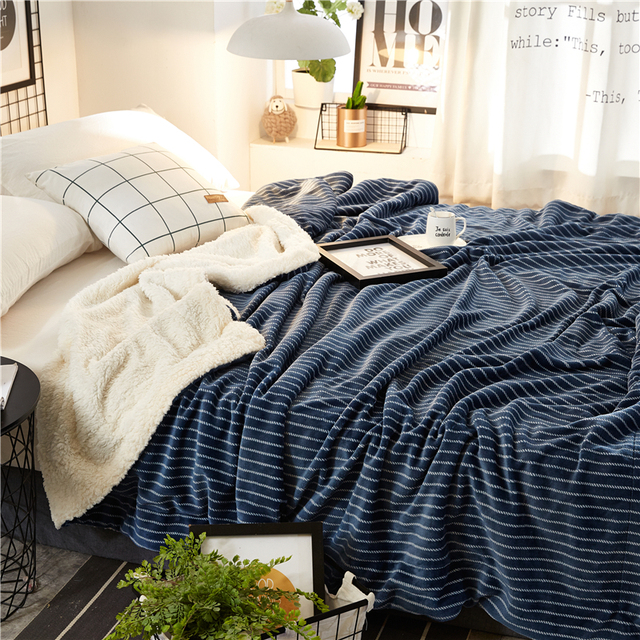 Simple Navy Blue Striped Double Layers Sherpa Blanket