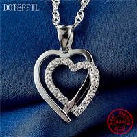 18 Inch Wave Chain 925 Sterling Silver Women Necklace Charming Double Heart Pendant Necklace AAA Zircon