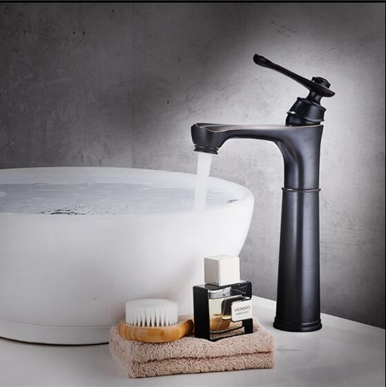цена на Tall Basin Faucets Black Brass Bathroom Basin Faucet Square Spout Single Handle Deck Vanity Sink Mixer Water Taps