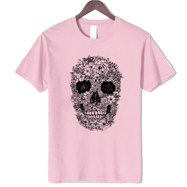 Cotton Skull Print T- Shirt Tees , Shirts & Tops Women color: Gray Pink Red White