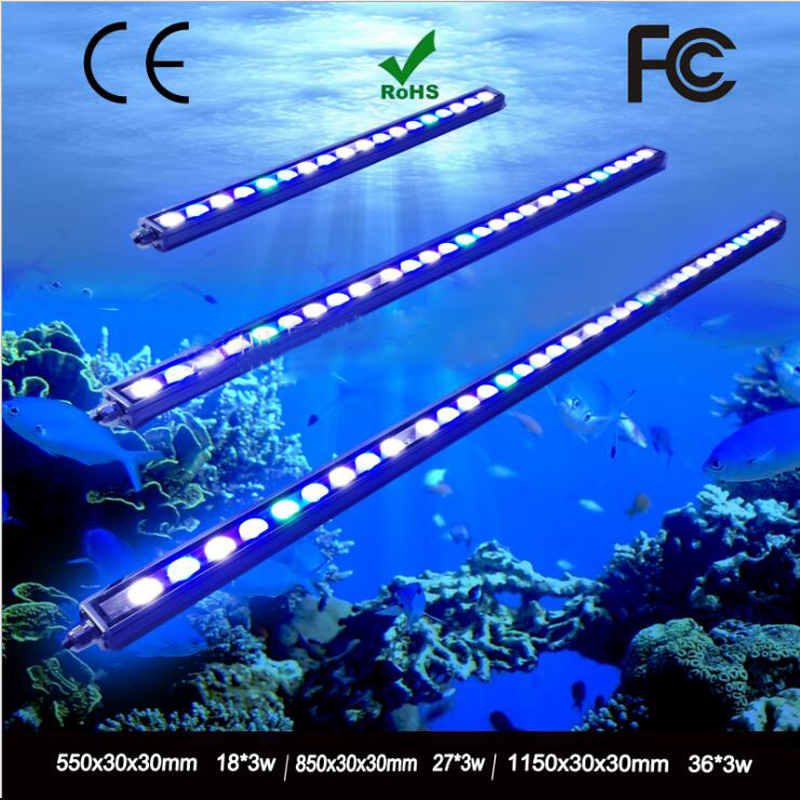 5pcs/lot 108W IP65 Waterproof LED aquarium light bar strip lamp for salt/freshwater reef coral growth/plant fish tank lighting