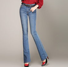 Casual jeans denim plus size flare pants for woman high waist full length cotton blend autumn
