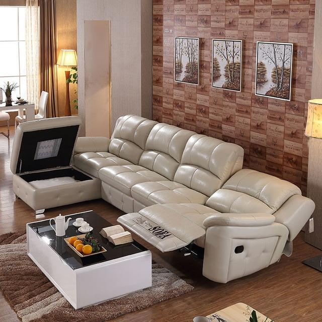 L Bentuk Memperpanjang Berikat Kulit Modern Sofa Set Untuk Ruang Tamu Besar Ce 105c