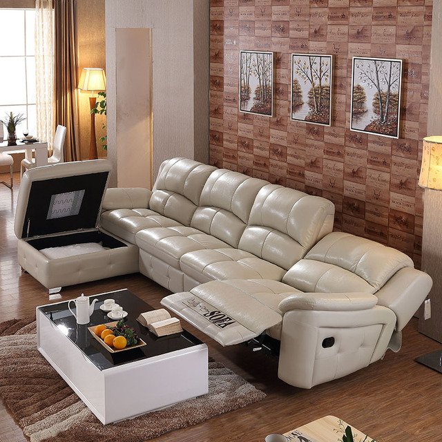L Shape Modern Extend Bonded Leather Sofa Set For Big Living Room #CE 105C