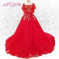 AXJFU Роскошные Принцесса Кружева цветок Красный вечернее платье Винтаж Темно синий бисером Турции Длинные вечернее платье 100% Настоящее фото