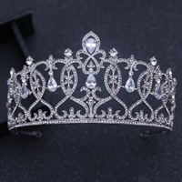 Manwii Tiara Fashion Queen Princess Silver Crown Fashion Design Bridal Weddings Hair Accessories Bridal Headpiece AQ2021