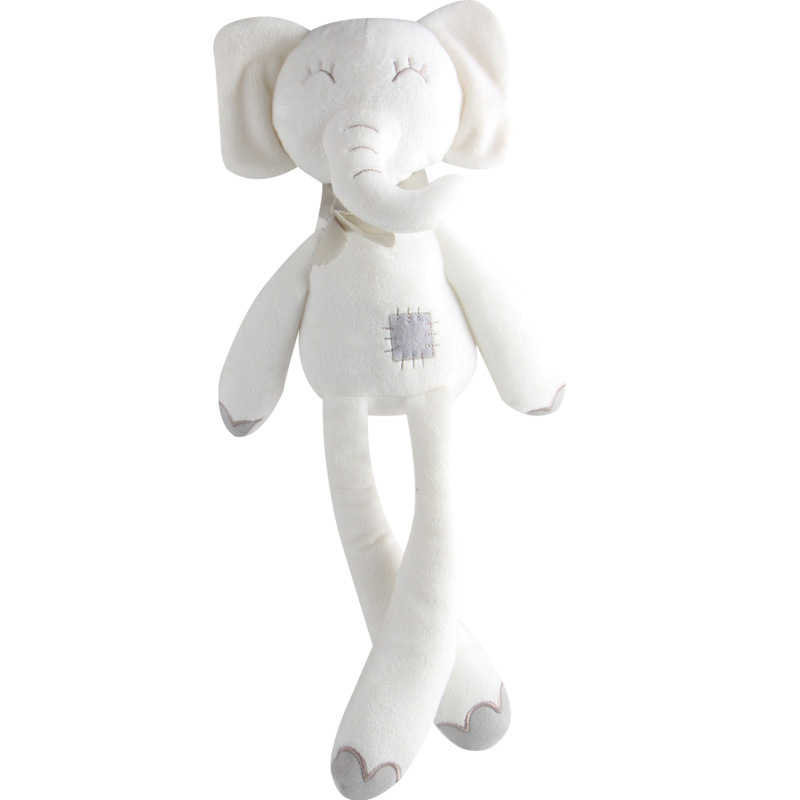 White Plush Cute Elephant Stuffed Animal Toys Appease Sleeping Soft Baby Dolls For Children Kids Birthday Pretty Gift 25cm plush kangaroo toys with soft pp cotton creative stuffed animal dolls cute kangaroos with small baby toys gift for children
