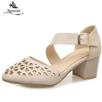 SGESVIER 2018 Newest Women Sandals Summer Shoes For Woman Thick Heel Buckle Strap Hollowed Out Sandals