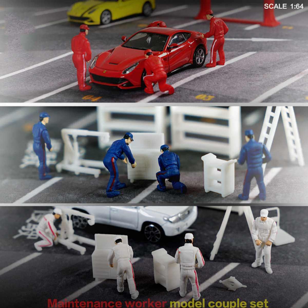 1: 64 Auto Tukang Orang Pria untuk Race Medali Teknisi Perbaikan Model Skenario Kotak Korek Api Teknisi Tukang Model