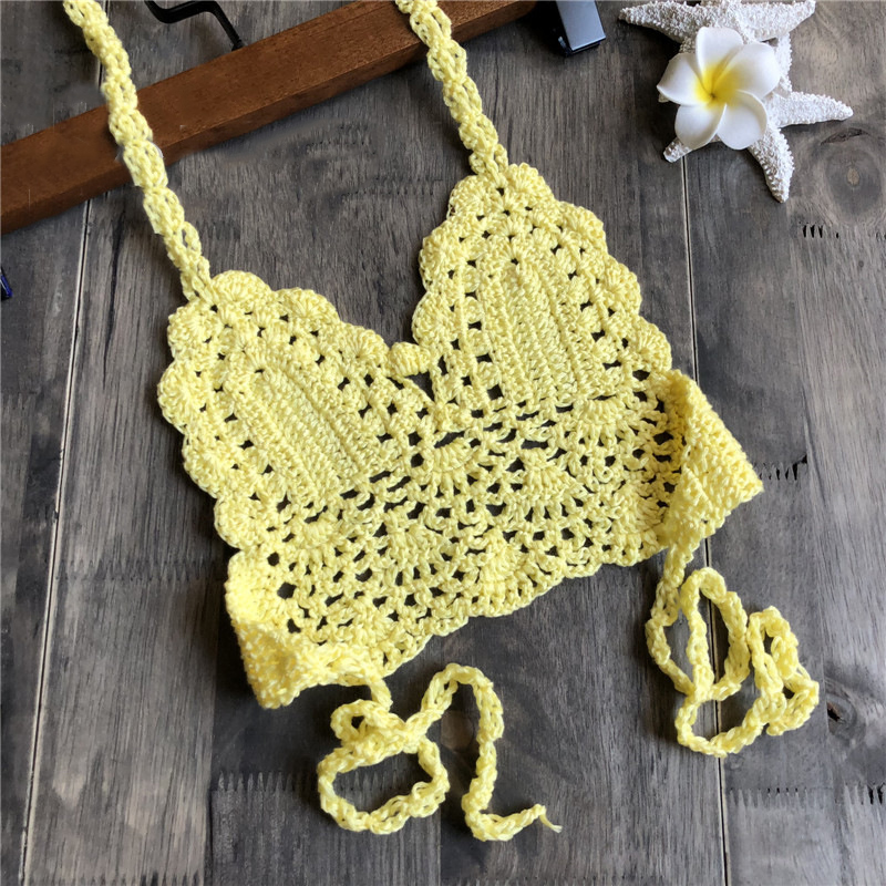 Child Hand Knitted Hollow Out Beach Beachwear Casual Swimsuit Tops Swimwear