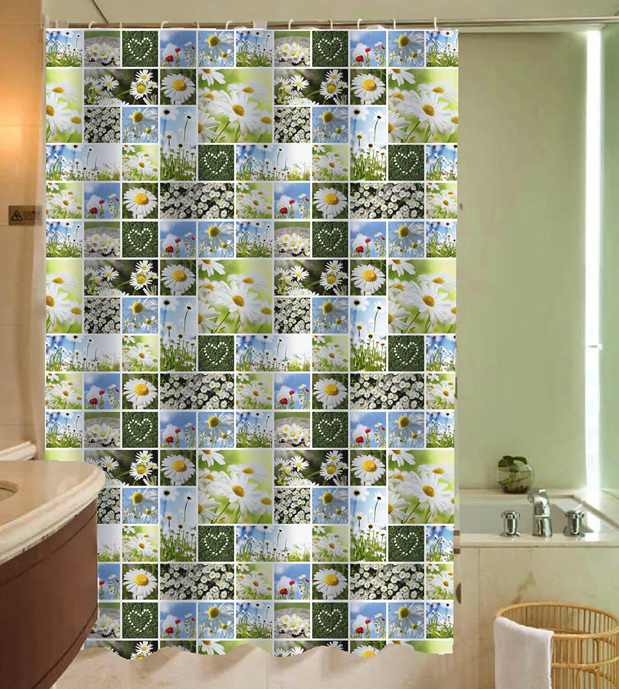 3d Printing Floral Shower Curtain Green Modern Bathroom Accessory Polyester Waterproof Bath Curtain Set With Hooks