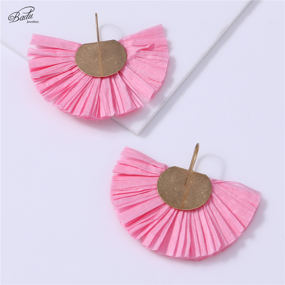 Badu 2018 New Pink Earring for Girls Lovely Raffia Tassels Light Weight Fashion Jewelry Plastic Cord Gold Copper Earring Gift in Drop Earrings from Jewelry Accessories