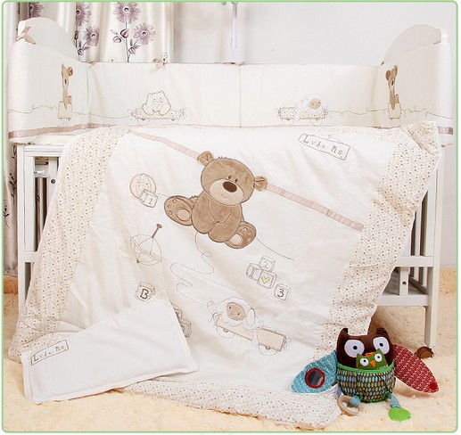 Promotion! 7pcs Baby Bedding for Crib Baby Bed Linens for Girl Boy Cartoon Bear Cot Bumpers ,include(bumpers+duvet+sheet+pillow)