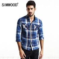 SIMWOOD Brand Clothing 2016 New Autumn Men Plaid Shirt Long Sleeve Slim Fit Cotton Leisure Breathable
