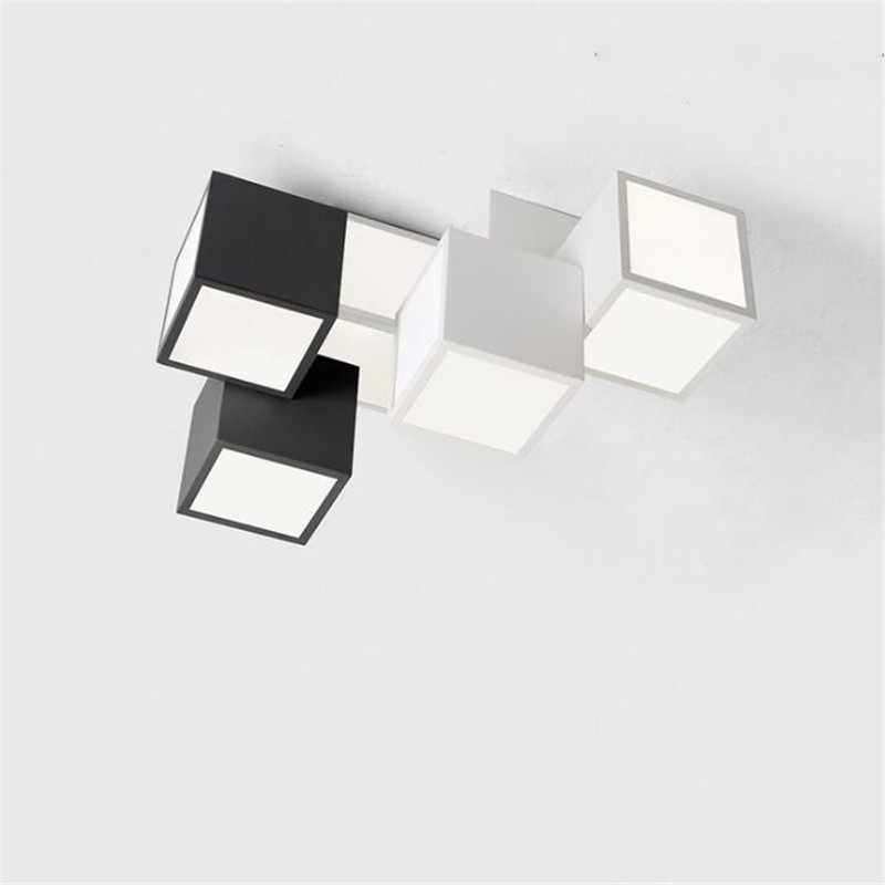 Ceiling Lights Inventive Modern Geometric Box 3d Diy Ceiling Light For Bedroom Foyer Iron Acrylic Cube Combination Illuminare Lighting Fixture 2399 Ceiling Lights & Fans