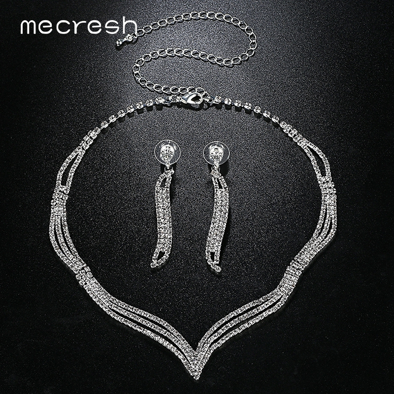 Mecresh Simple Crystal Bridal Jewelry Sets Silver Color Rhinestone Earrings Necklace Sets for Women Wedding Accessories TL296 4