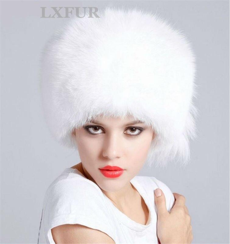 ad9777017e42e Classic Luxurious Womens Real 100% White Fox Fur Hat Ladies Genuine ...