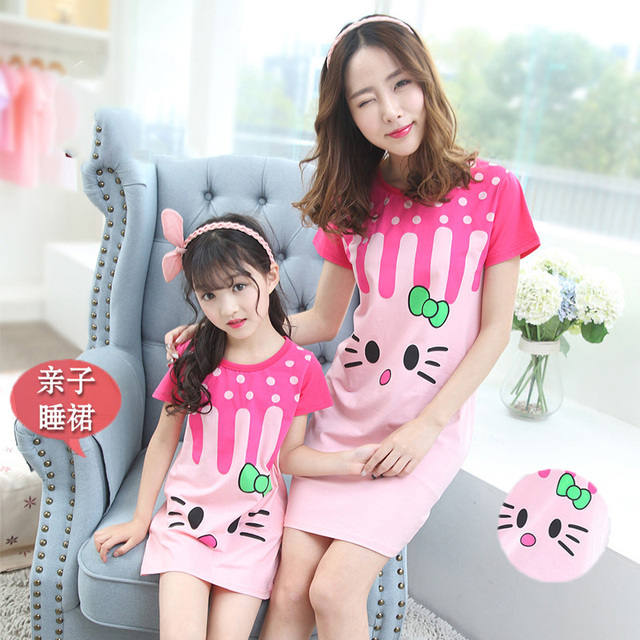 9b907ad972 Family Matching Mother Daughter Pajamas Set Cute Cat Dress Kids Girls  Nightgown Mommy and Me Baby Matching Clothes Dresses