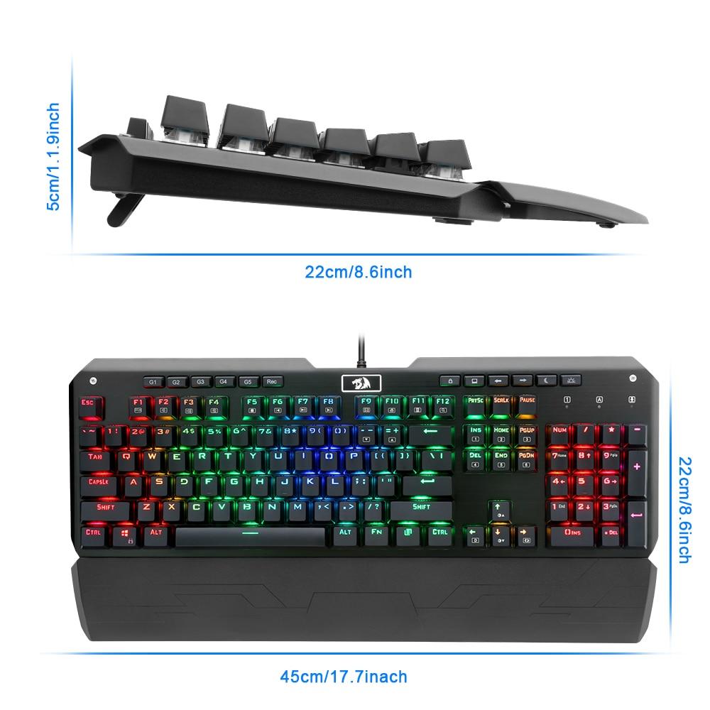 Redragon Gaming mechanical keyboard RGB full color LED backlit keys N-key rollover 104 keys USB wired For PC Computer Game