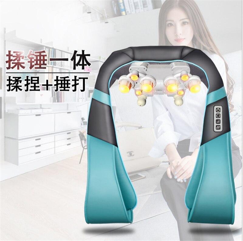 Shoulder Massager U Shape Electrical Shiatsu Back Neck Shoulder Body Massager Infrared Heated Kneading Car/Home Massager цена