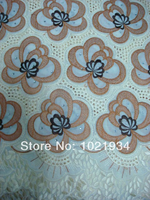 Free shipping High quality African cotton embroidery big swiss voile lace fabric handcut wedding lace  B32-9