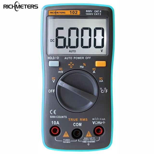 RICHMETERS RM102 Цифровой мультиметр 6000 отсчетов DC/AC Амперметр Вольтметр Ом сопротивление диода CapacitanceTemperature метр