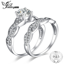 JewelryPalace Infinity 1.5ct Cubic Zirconia Anniversary Promise Wedding Band Engagement Ring Bridal Sets 925 Sterling Silver