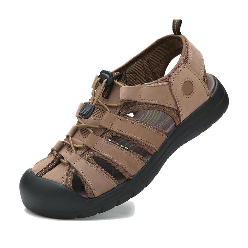Men sandals 2018 summer shoes genuine leather sandals men beach shoes for seaside resort size 38 ~ 44 mayflower beach resort 3 гоа