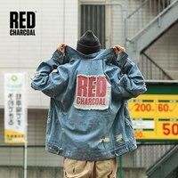 Красная темно серая джинсовая куртка с надписями, размер США, 2018 A/W