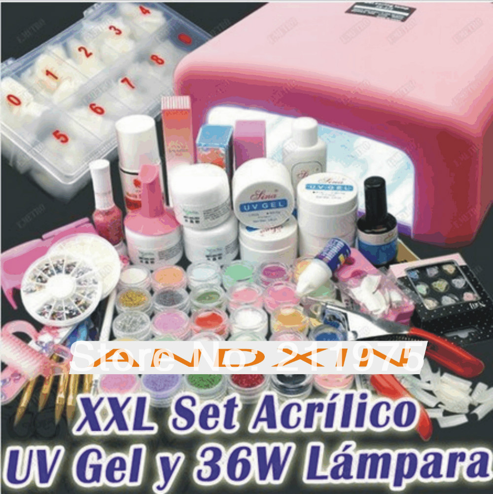 ФОТО 2014 new Promotions BEMLP Full Set Acrylic Powder UV Gel kit French Tips Brush Pen 36w UV Lamp Nail Art DIY Manicure kit