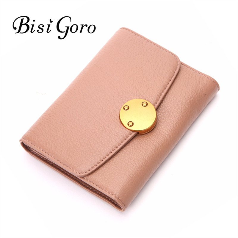 Bisi Goro Real Cowhide Leather Women Short Wallets Small Wallet Simple Metal Button Lock Coin Pocket Card Holder Female Purses