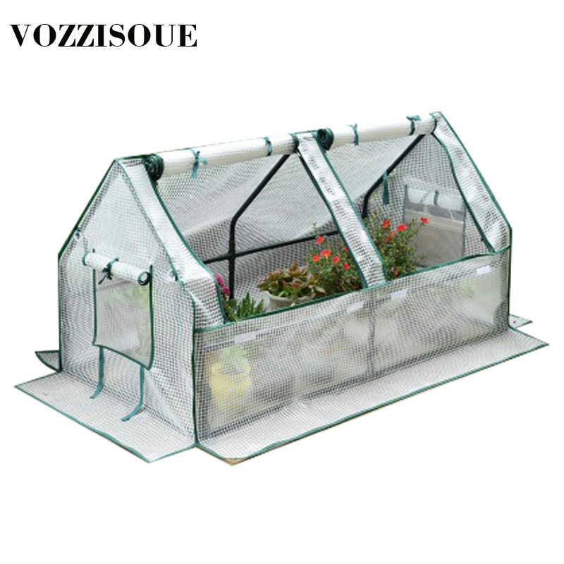 House Garden Greenhouses Flower Plant Keep Warm Shelf Roof Greenhouse for Garden Shed Durable PVC Plastic Cover Roll-up Zipper