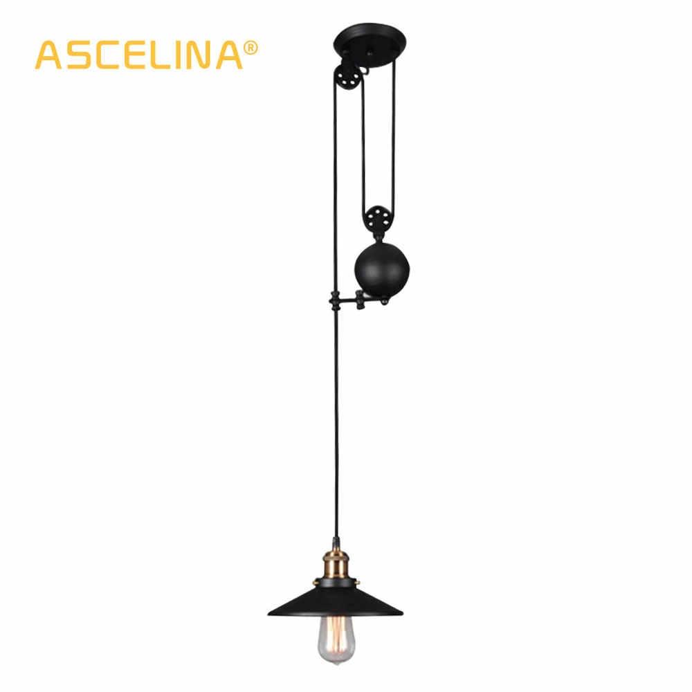 ASCELINA подвесной светильник шкив американские старинные подвесные светильники для гостиной регулируемое светодиодное освещение домашнего освещения E27 85-260 В
