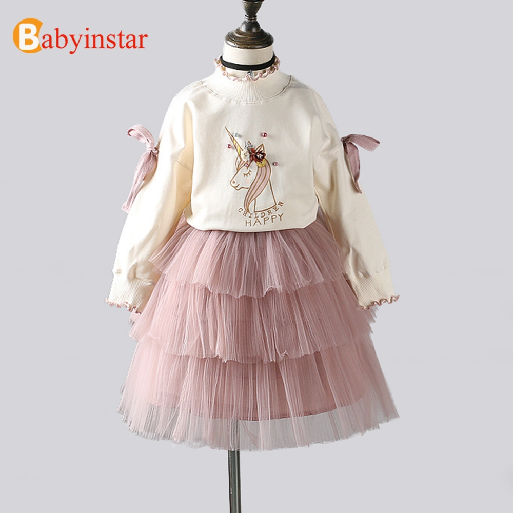Babyinstar Baby Girls Princess Set 2018 New Arrival Long Sleeve Tops + TUTU Skirts 2Pcs Girls Clothes Toddler Children's Suit 2018 summer baby girls clothing flower tops and tutu skirts 2pcs baby set newborn baby girl clothes infant girls sport suit