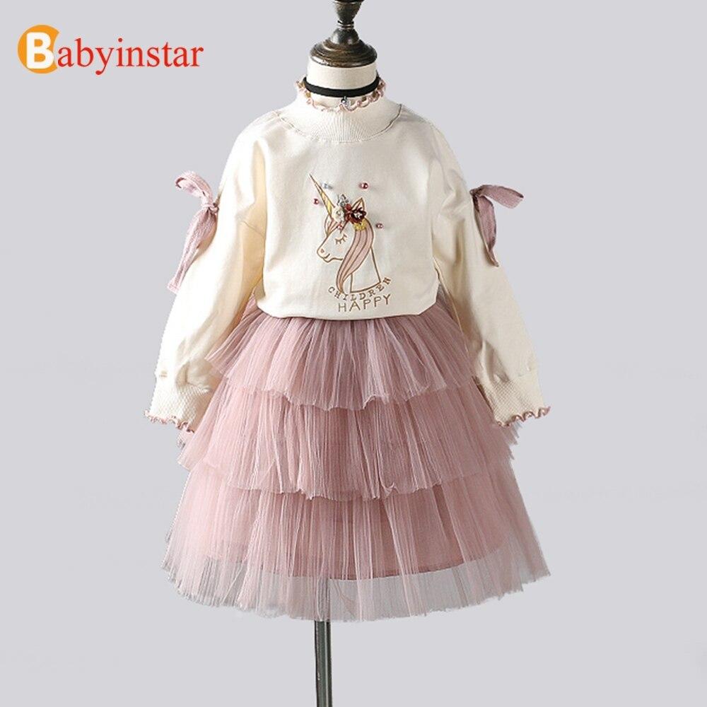 Babyinstar Baby Mädchen Prinzessin Set 2018 Neue Ankunft Langarm Tops + TUTU Röcke 2 stücke Mädchen Kleidung Kleinkind Kinder der Anzug