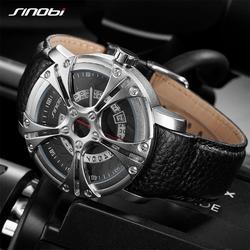 SINOBI Men Watch S Shock Military Watch for Man Eagle Claw Leather Strap Sport Quartz Watches Top Brand Luxury relogio masculino