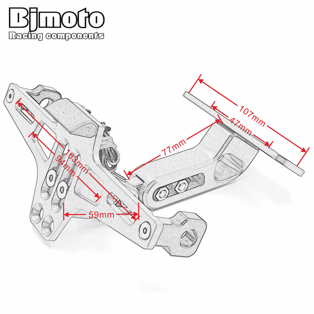 BJMOTO Motorcycle License Plate Bracket Licence Plate Holder Number ...