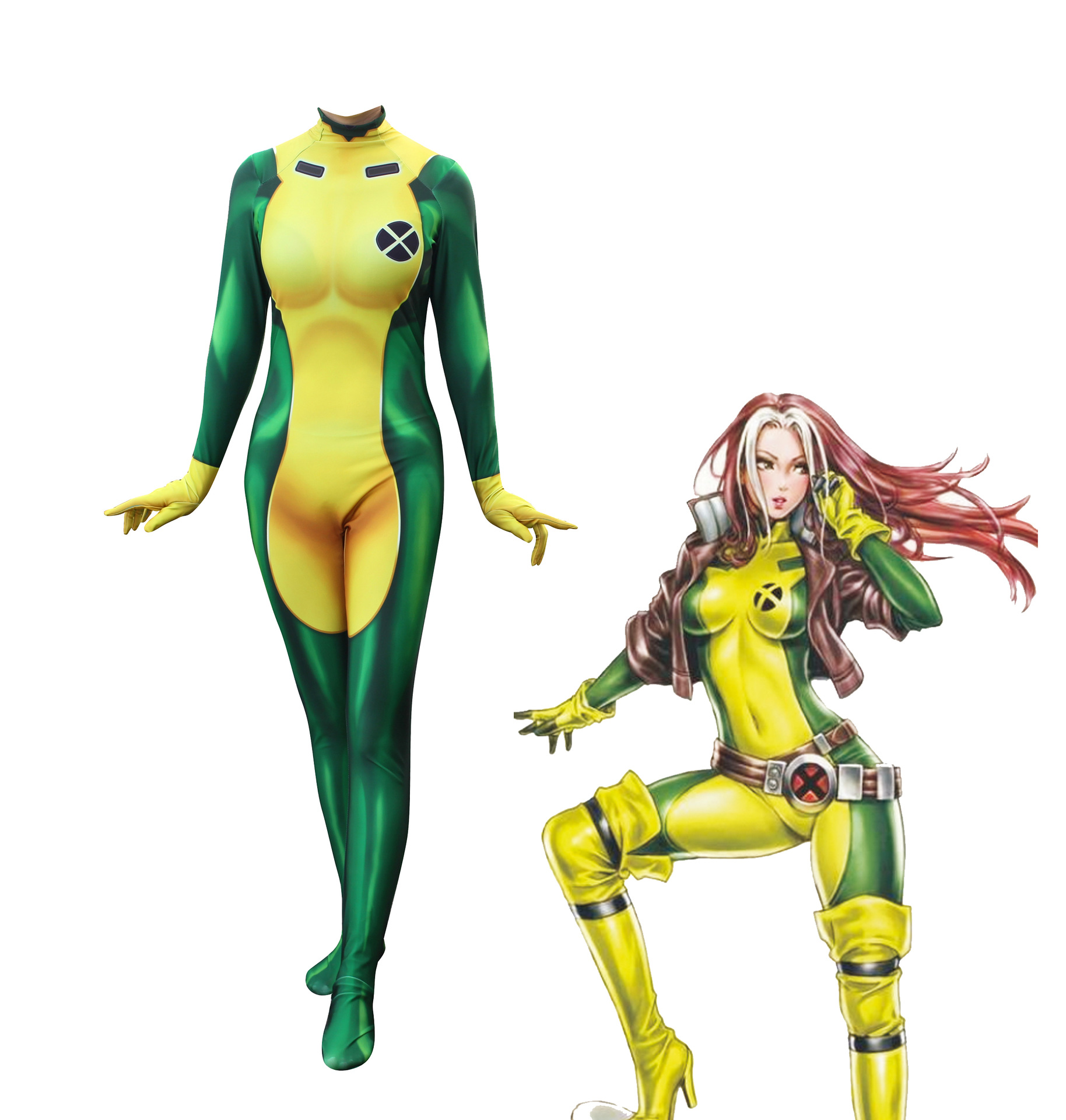 3D Printing X-Men Rogue Cosplay Costume Lycra Spandex Sexy Catsuit Zentai Woman/Girls/Lady Superhero Halloween Xmen Costumes