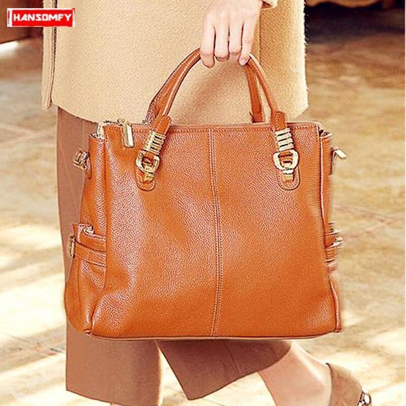 2019 New Genuine Leather Women Handbag Soft Cowhide Leather Shoulder Bag Business 14